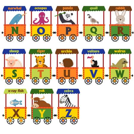 Zug Alphabet mit Tieren N bis Z - Vektor-Illustration, eps Standard-Bild - 71927199