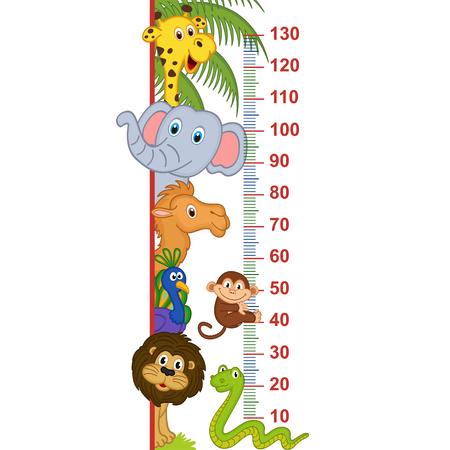 Miara wzrostu zwierząt w zoo - ilustracja wektorowa, eps