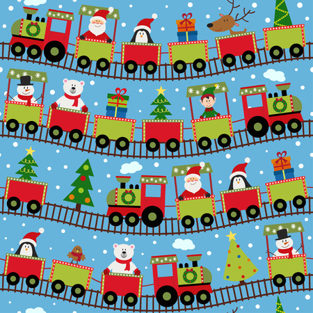 seamless pattern train with Christmas characters - vector illustration, Illustration