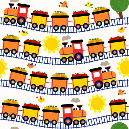 railway transportation: seamless pattern train with fruits - vector illustration, Illustration