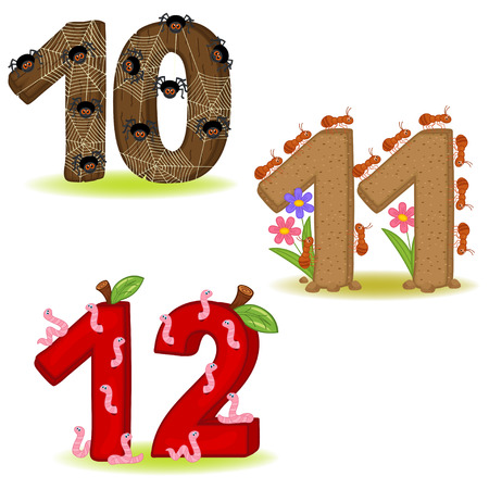 Set of numbers with number of animals from 10 to 12 - vector illustration,