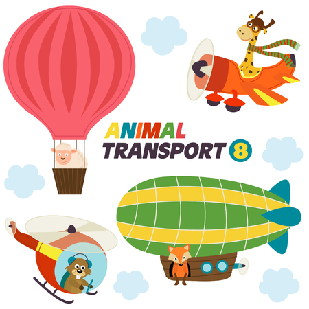 dirigible: Set of isolated air transports with animals- vector illustration, eps Illustration