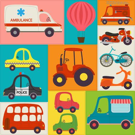 Muster mit Spaß Transporte - Vektor-Illustration, eps Standard-Bild - 72935688