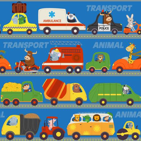 Motif transporte avec des animaux sur la route - illustration vectorielle, eps