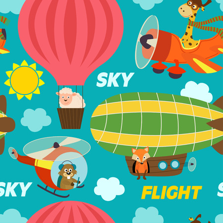 dirigible: Pattern air transports with animals - vector illustration, eps