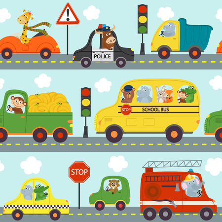 seamless pattern transports with animals in city - vector illustration, eps Illustration