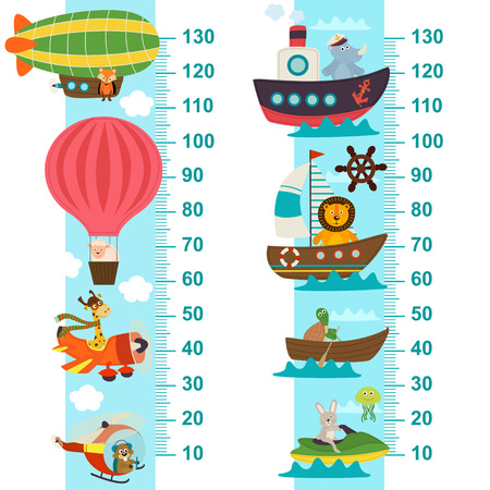 sea transport: air and sea transport height measure - vector illustration, eps