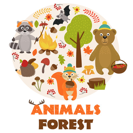 animals of forest part 1 - vector illustration, eps