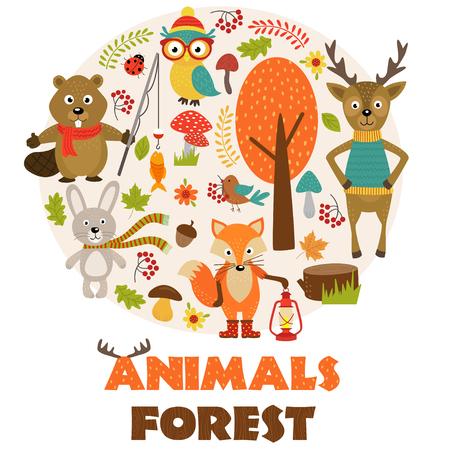 Animals of forest part 2 - vector illustration, eps Illustration