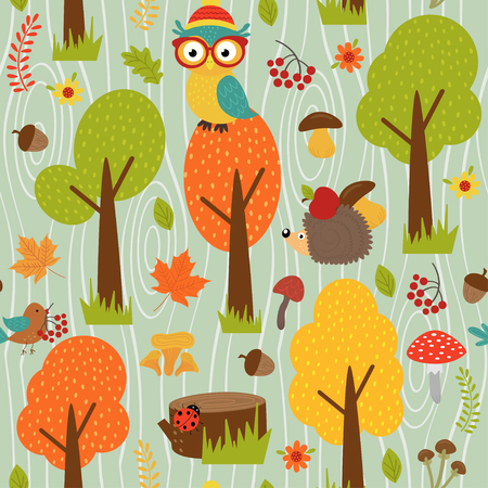 Seamless pattern with animals of forest on green background- vector illustration, eps