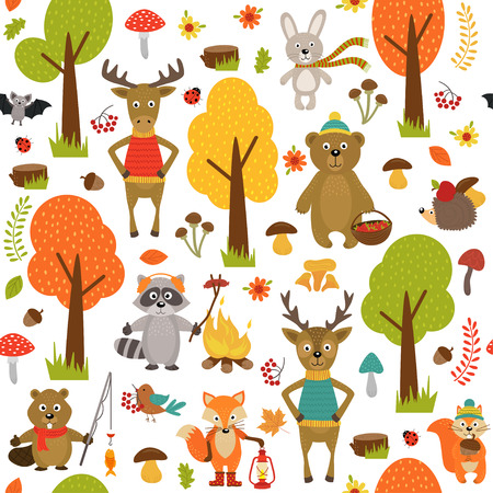 seamless pattern with animals of forest on white background- vector illustration, eps