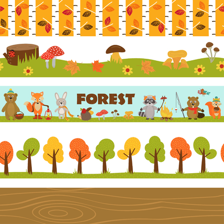 Set of isolated borders forest - vector illustration, eps.