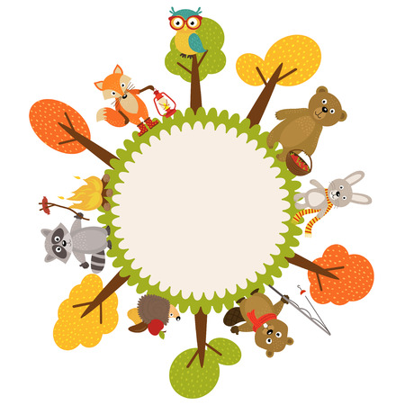 Marco con animales de bosque - ilustración vectorial, EPS