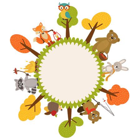 animales del bosque: Marco con animales de bosque - ilustración vectorial, EPS