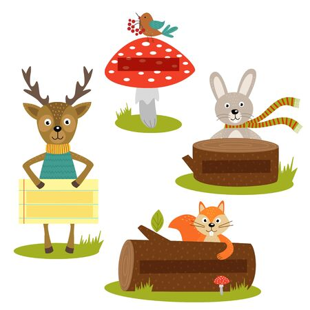 animal frame: set of isolated forest animal with frame for your text part 2 - vector illustration, eps