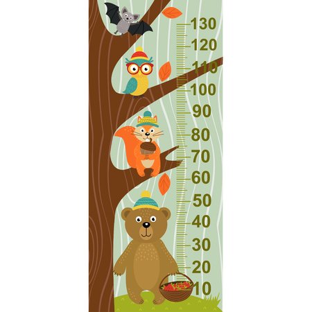 tallness: growth measure tree with forest animal - vector illustration, eps