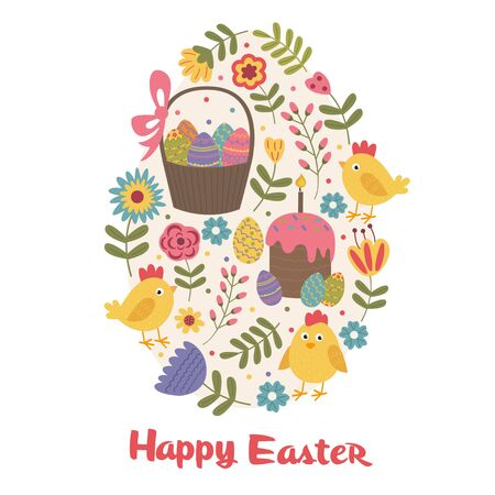 Happy Easter greeting card with chick - vector illustration, eps