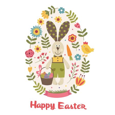 Happy Easter greeting card with bunny - vector illustration, eps Illustration