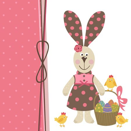 Happy Easter greeting card with bunny girl illustration.