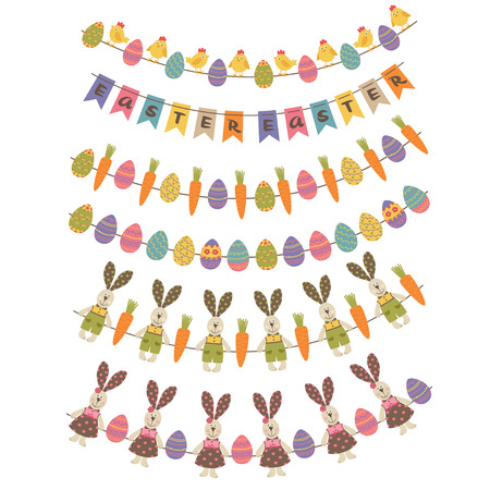 Set of isolated happy easter garland vector illustration.