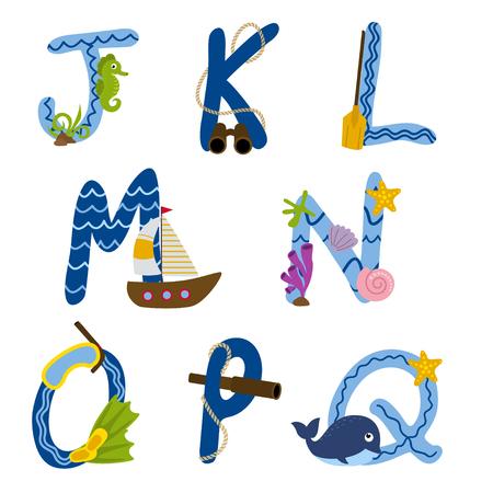Alphabet nautical from J to Q - vector illustration Illustration