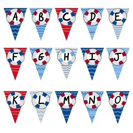 literate: alphabet nautical garland A to O - vector illustration, eps