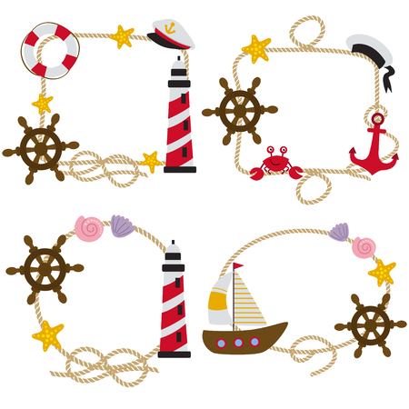 set of isolated rope frames nautical - vector illustration, eps