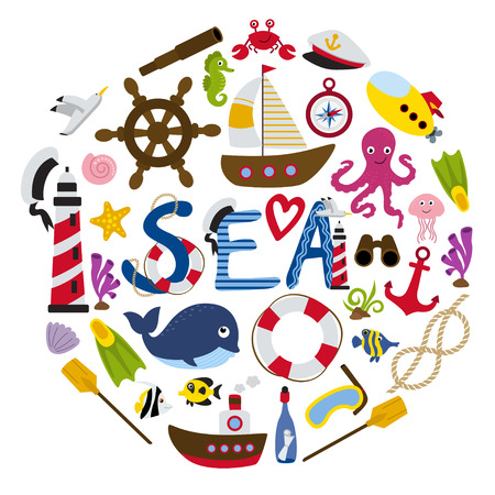 Nautical elements in form of circle- vector illustration, eps. Illustration