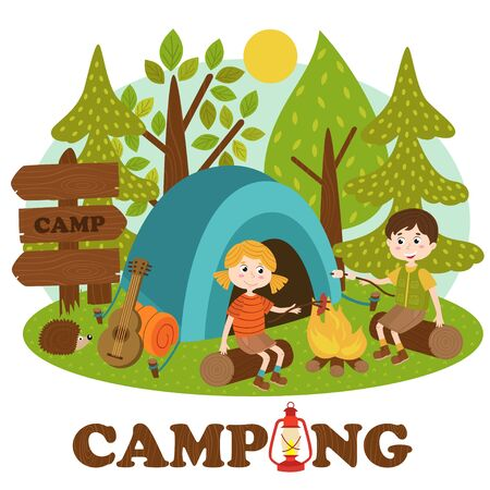 Niños cerca de hoguera en campamento de verano - ilustración vectorial, eps Vectores