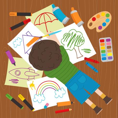 rainbow umbrella: boy draws on the floor - vector illustration, eps