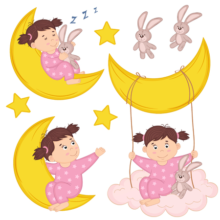 colore: set of isolated girl on moon - vector illustration, eps Illustration