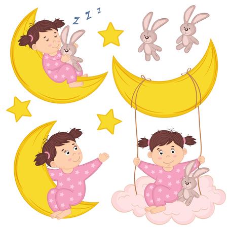set of isolated girl on moon - vector illustration, eps Illustration