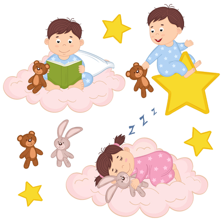 set of isolated babies on cloud and star - vector illustration, eps