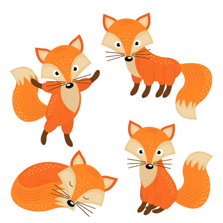 Set of isolated cute foxes part 2 - vector illustration, eps 向量圖像