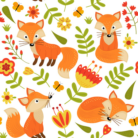 seamless pattern with fox in flowers - vector illustration, eps