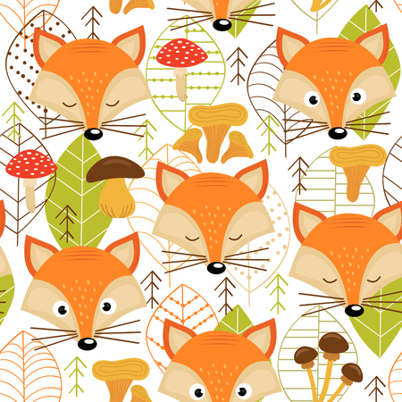 Seamless pattern with fox faces - vector illustration, eps