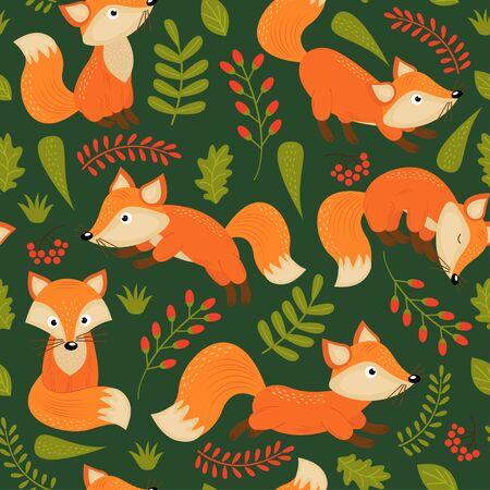Pattern fox on green backdrop illustration
