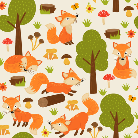 Seamless Pattern with fox in forest - vector illustration