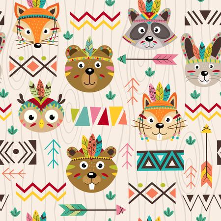 部族の動物とのシームレスなパターンの顔 - ベクトル図では、eps  イラスト・ベクター素材