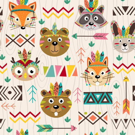 Seamless pattern with tribal animals faces - vector illustration, eps Reklamní fotografie - 78610180