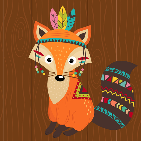 Tribal fox on a wooden background - vector illustration, eps