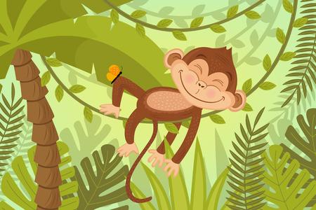 Monkey sleeps on vine - vector illustration, eps Illustration