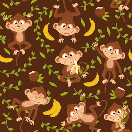 jungle vines: Seamless pattern with monkey on brown background - vector illustration, eps