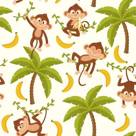 Nahtloses Muster mit Affen auf Palme Standard-Bild - 79320080