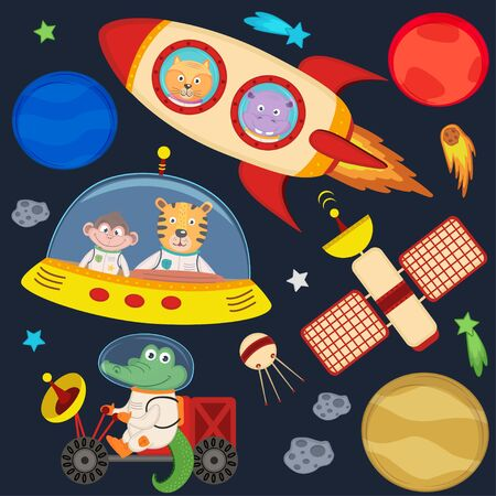 moon rover: Set of animals in space part 3 - vector illustration, eps Illustration