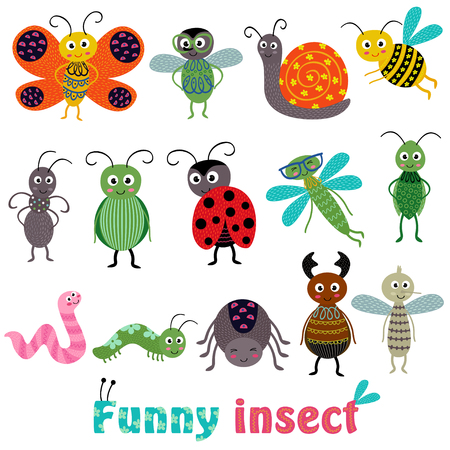 Set of isolated with funny insect - vector illustration