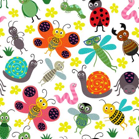 patrón sin fisuras con insectos - ilustración vectorial, eps