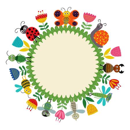 Kader met grappig insect - vectorillustratie, eps