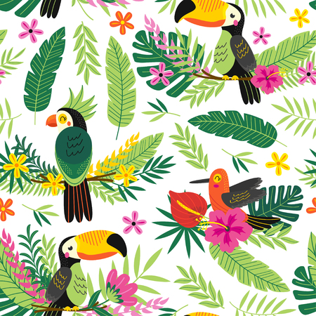 Seamless pattern with tropical birds - vector illustration, eps Stock Illustratie