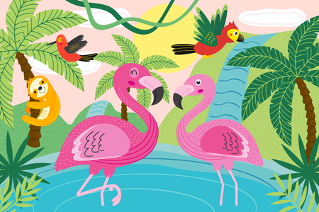 Animals in tropical nature - vector illustration, eps